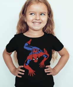 Black Girl Crawling Spider Man Kid's Printed T Shirt