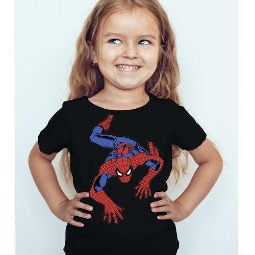 Black Girl Crawling Spider Man Kid's Printed T Shirt