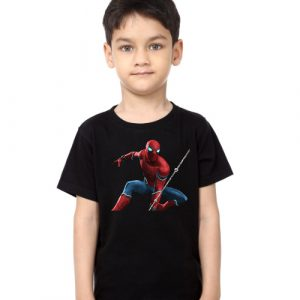 Black Boy Port Spiderman Kid's Printed T Shirt