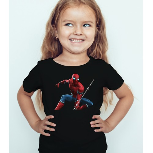 Black Girl Port Spiderman Kid's Printed T Shirt