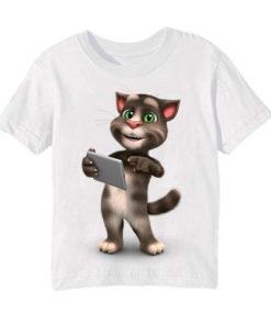 White Tablet talking tom Kid's Printed T Shirt