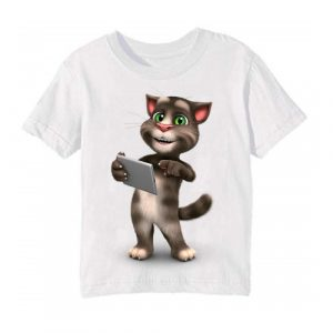 White Tablet talking tom Kid's Printed T Shirt