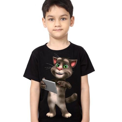 Black Boy Tablet talking tom Kid's Printed T Shirt