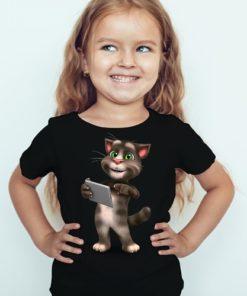 Black Girl Tablet talking tom Kid's Printed T Shirt