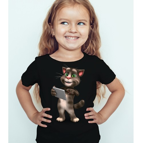 Black Girl Tablet talking tom Kid's Printed T Shirt