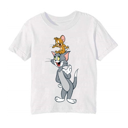 White Jerry on tom's head Kid's Printed T Shirt