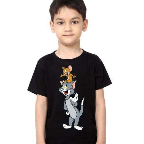 Black Boy Jerry on tom's head Kid's Printed T Shirt