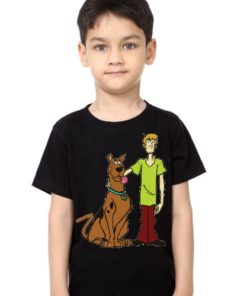 Black Boy Scooby with Shaggy Kid's Printed T Shirt
