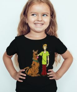 Black Girl Scooby with Shaggy Kid's Printed T Shirt