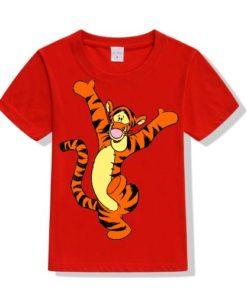 Red Dancing Tiger Kid's Printed T Shirt
