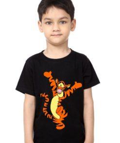 Black Boy Dancing Tiger Kid's Printed T Shirt