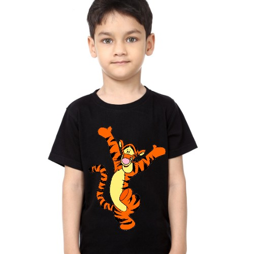Black Boy Dancing Tiger Kid's Printed T Shirt