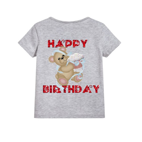 Grey Teddy With Happy birthday quote Kid's Printed T Shirt