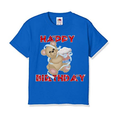 Blue Teddy With Happy Birthday Quote Kids Printed T Shirt