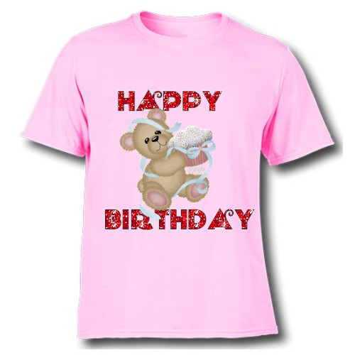 Pink Teddy With Happy birthday quote Kid's Printed T Shirt