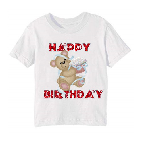 White Teddy With Happy Birthday Quote Kids Printed T Shirt