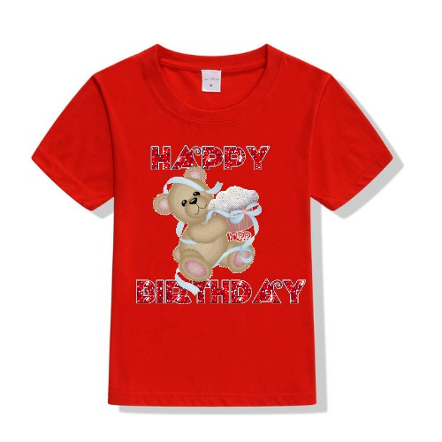 Red Teddy With Happy birthday quote Kid's Printed T Shirt