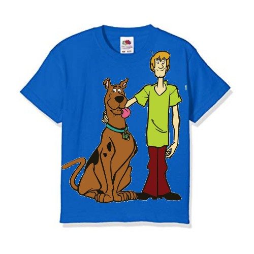 Blue Scooby with Shaggy Kid's Printed T Shirt