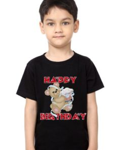 Black Teddy With Happy birthday quote Kid's Printed T Shirt