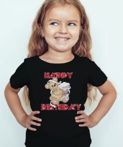 Black Girl Teddy With Happy birthday quote Kid's Printed T Shirt