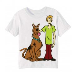 White Scooby with Shaggy Kid's Printed T Shirt