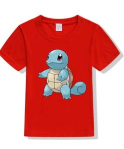 Red boy standing tortoise Kid's Printed T Shirt