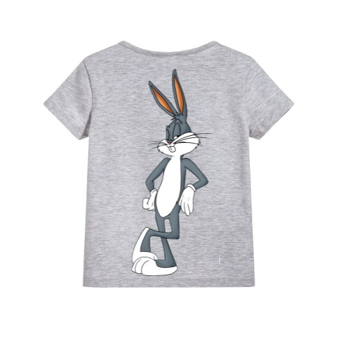 Grey Posing Rabbit Kid's Printed T Shirt