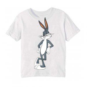 White Posing Rabbit Kid's Printed T Shirt