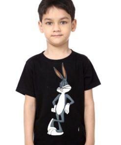 Black Boy Posing Rabbit Kid's Printed T Shirt