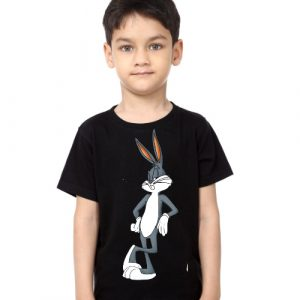 Black Boy Posing Rabbit Kid's Printed T Shirt