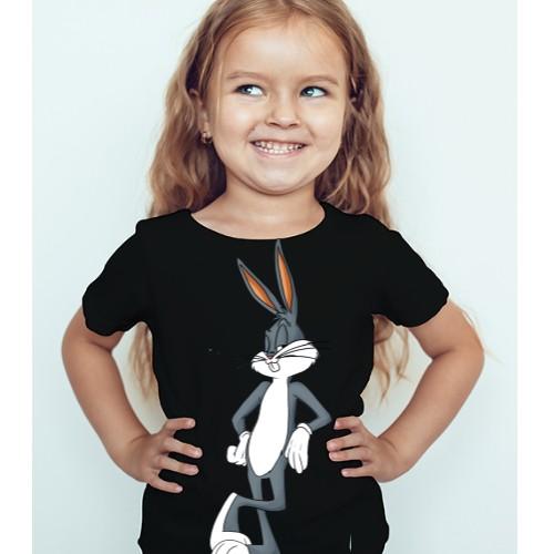 Black Girl Posing Rabbit Kid's Printed T Shirt