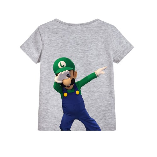 Grey Dancing Mario Kid's Printed T Shirt