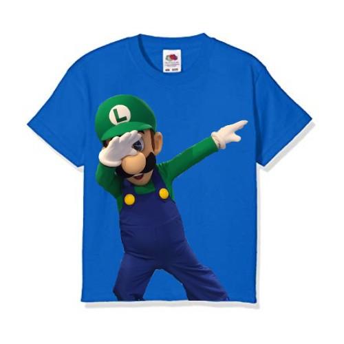 Blue Dancing Mario Kid's Printed T Shirt