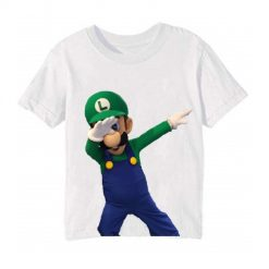 White Dancing Mario Kid's Printed T Shirt