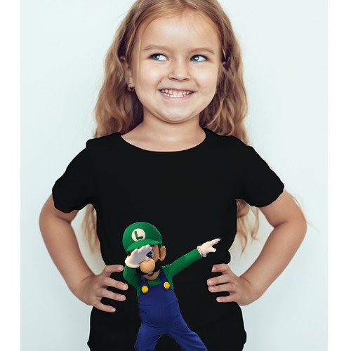 Black Girl Dancing Mario Kid's Printed T Shirt