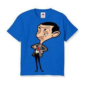 Blue Catoonized Mr.Bean Kid's Printed T Shirt