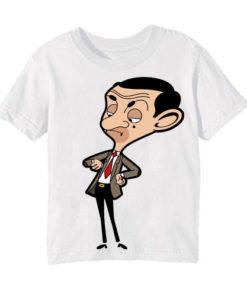 White Catoonized Mr.Bean Kid's Printed T Shirt