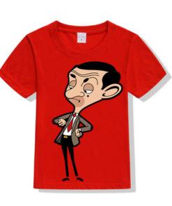 Red Catoonized Mr.Bean Kid's Printed T Shirt