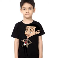 Black Boy Catoonized Mr.Bean Kid's Printed T Shirt