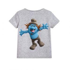 Grey Cartooned Blue Ghost Kid's Printed T Shirt