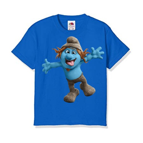 Blue Cartooned Blue Ghost Kid's Printed T Shirt