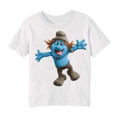 White Cartooned Blue Ghost Kid's Printed T Shirt
