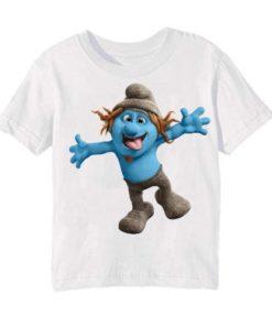 White Cartooned Blue Ghost Kid's Printed T Shirt