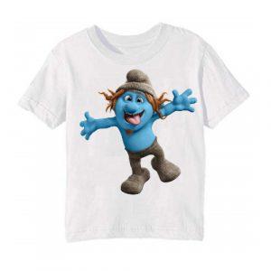 Printe5 White Cartooned Blue Ghost Printed Kid's T Shirt