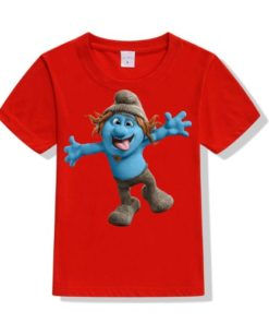 Red Cartooned Blue Ghost Kid's Printed T Shirt