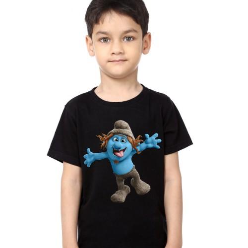 Black Boy Cartooned Blue Ghost Kid's Printed T Shirt