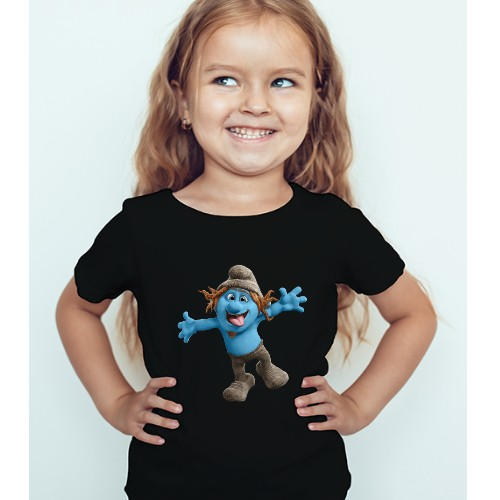 Black Girl Cartooned Blue Ghost Kid's Printed T Shirt