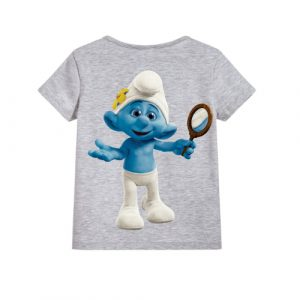 Grey Cartoon Character Bluish Kid's Printed T Shirt