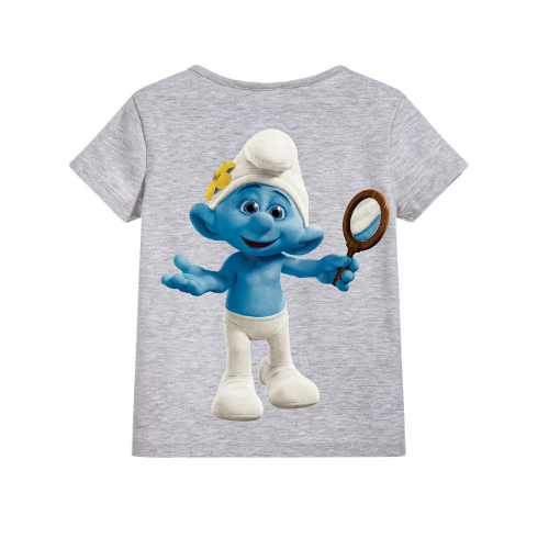 Grey Cartoon Character Bluish Kid's Printed T Shirt