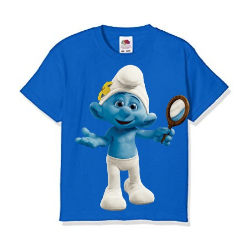 Blue Cartoon Character Bluish Kid's Printed T Shirt